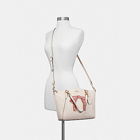 baaed586 Coach F28972 Small Kelsey Satchel With Floral Bundle Print Bow Chalk Multi