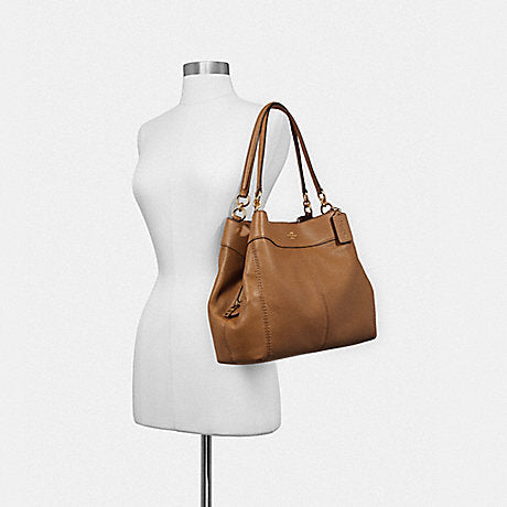 5ab34720d5f4 Coach F28992 Pebbled Leather Small Lexy Shoulder Bag Light Saddle ...