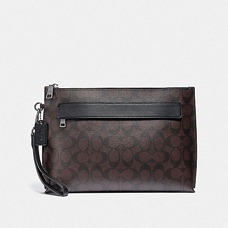 Coach F29508 Carryal Pouch In Signature Canvas Mahogany Black