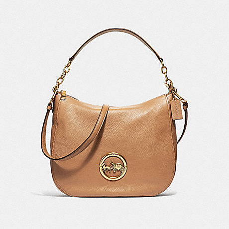 Coach F31400 Elle Hobo Pabbled Leather Light Saddle