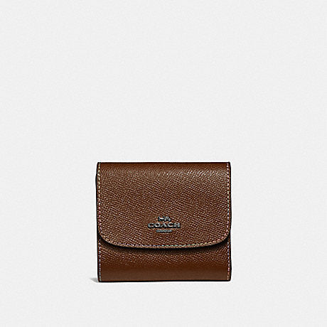 Coach F31570 Small Wallet With Rainbow Stitching Dark Saddle