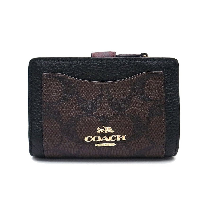 Coach F31949 Medium Corner Zip Wallet In Signature Collorblock Brown Black