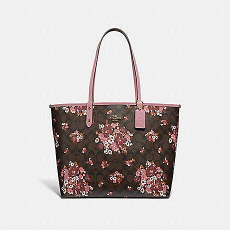 Coach F32084 Sig Medley Bouqet Reversible Tote Brown Multi