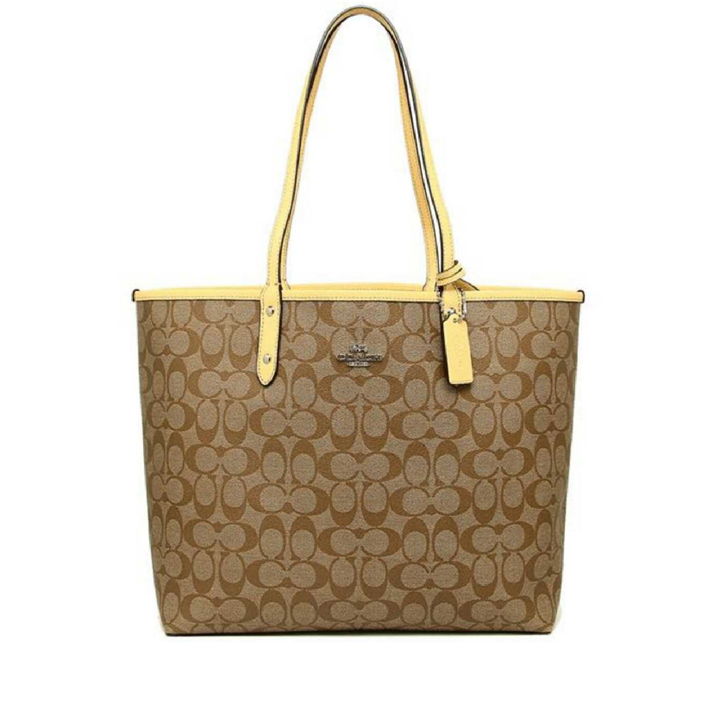 Coach F33658 Reversible Signature City Tote Khaki/Vanilla