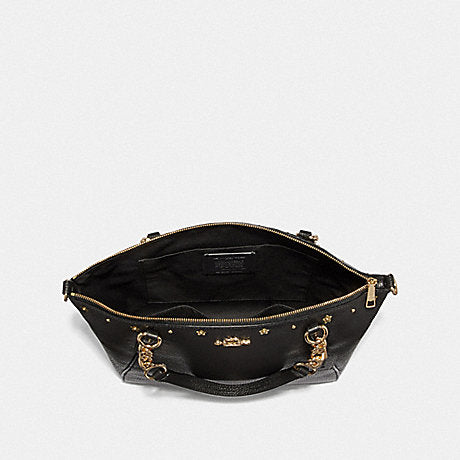 Coach F37773 Kelsey Chain Satchel With Floral Rivets Black