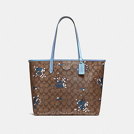 Coach F37807 Reversible City Tote In Signature Canvas With Floral Bundle Print Khaki Cornflower