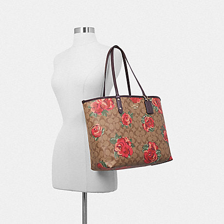 Coach F37844 Reversible City Tote In Signature Canvas With Jumbo Floral Print Khaki Oxblood Multi