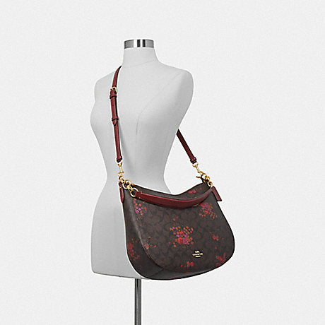 Coach F38050 Elle Hobo In Signature Floral Bundle Print Brown Metallic Currant