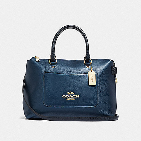 Coach F38054 Emma Satchel Metallic Denim