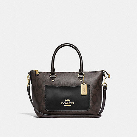 Coach F38089 Mini Emma Satchel In Signature Canvas Brown Black
