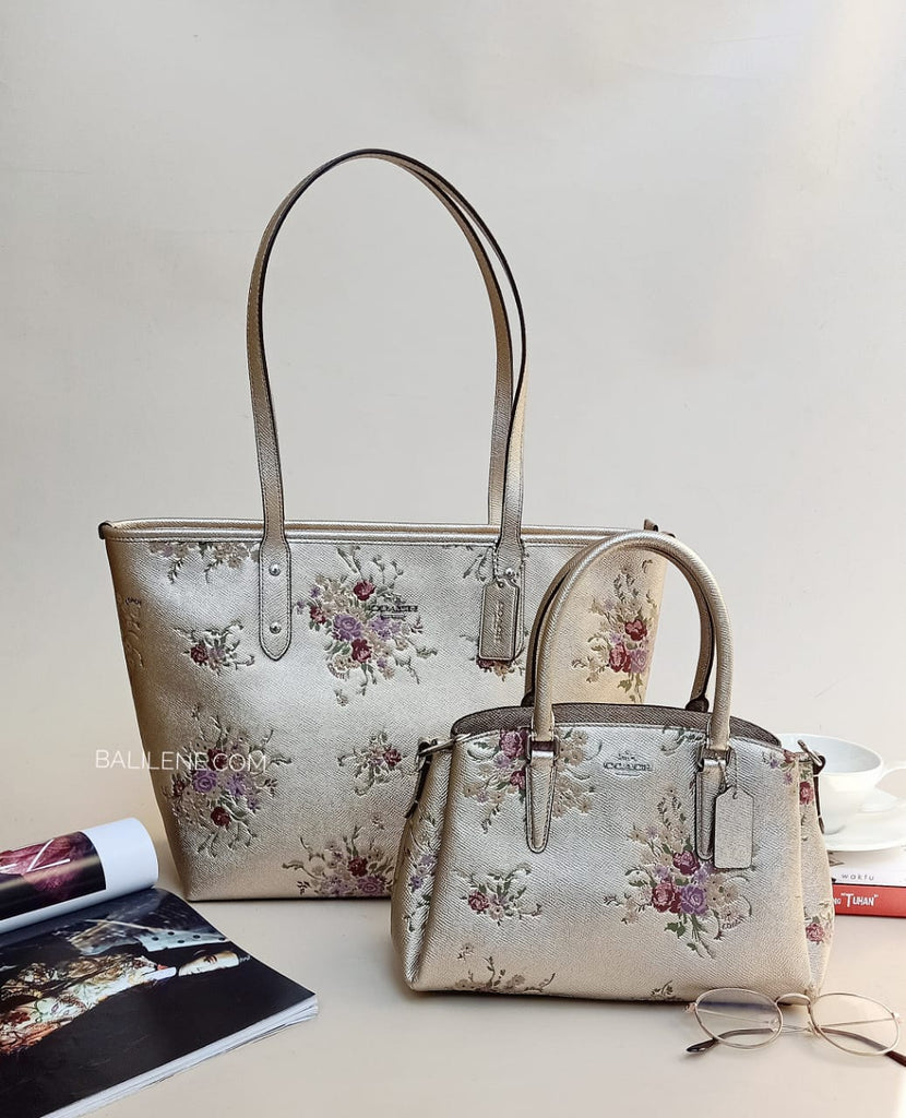 Coach F38829 City Zip Tote With Floral Bundle Print Platinum Multi