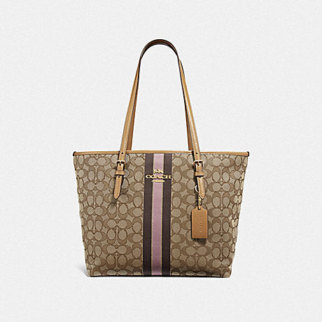 Coach F39043 Zip Top Tote In Signature Jacquard With Stripe In Khaki Multi