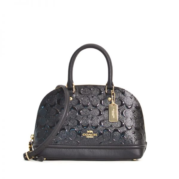 Coach F27597 Debossed Patent Leather Mini Sierra Black