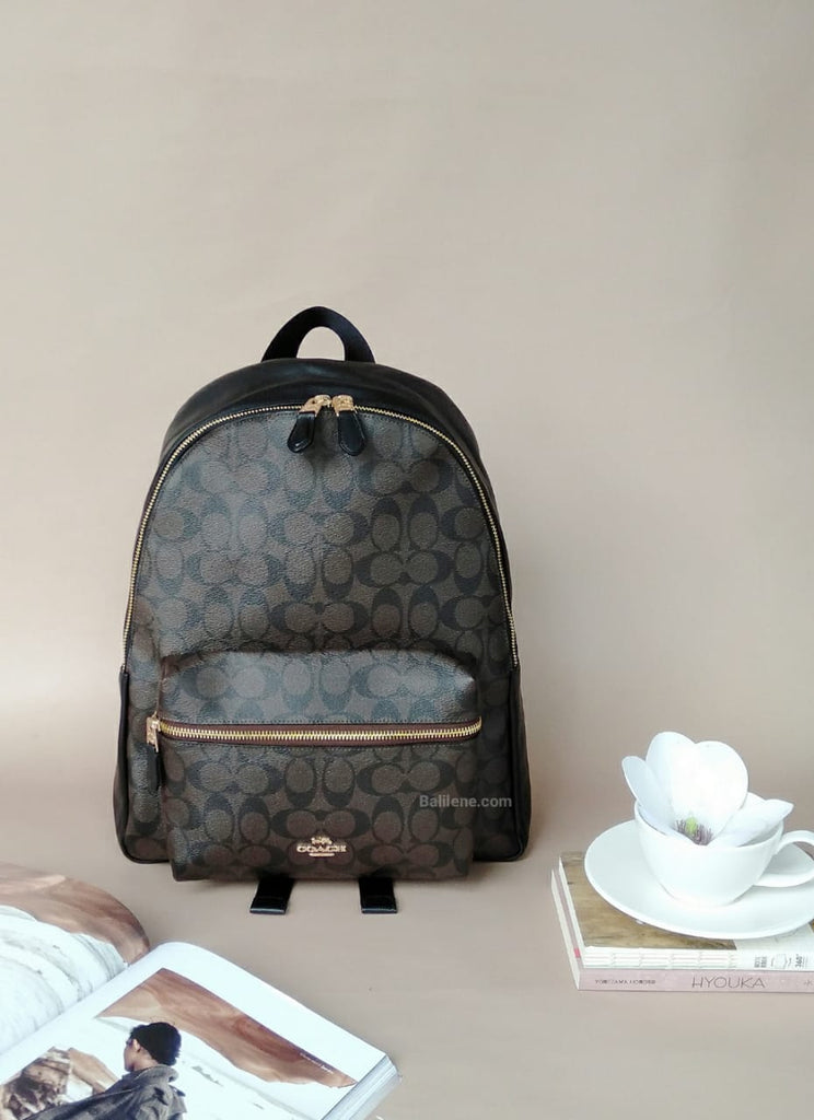 Coach F58314 Charlie Backpack In Signature Brown Black
