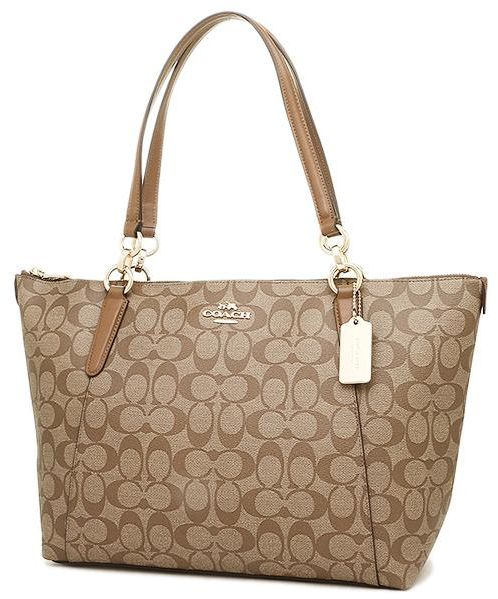 Coach F58318 Ava Tote In Signature Khaki Saddle