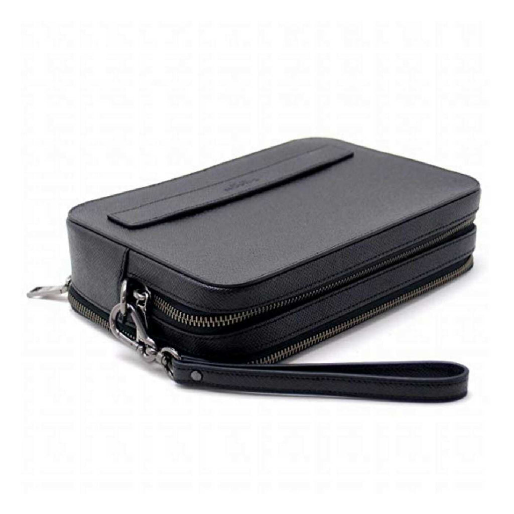 Coach F59117 Men Crossgrain Leather Pouchette Black
