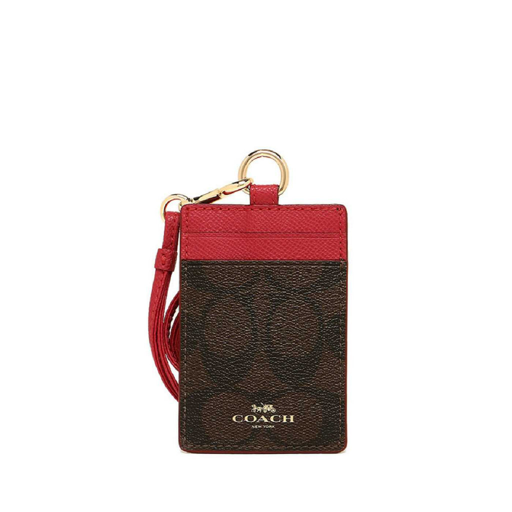 Coach F63274 Lanyard ID Case Outlet Brown Hot Pink