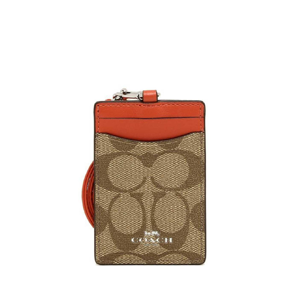 Coach F63274 Lanyard ID Case Outlet Khaki Orange