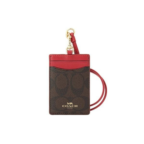 Coach F63274 Lanyard ID Case Outlet Khaki True Red