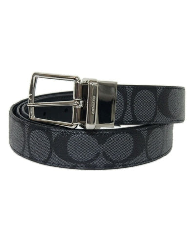 Coach F64825 Belt Men Reversible Black Charcoal CQ/BK