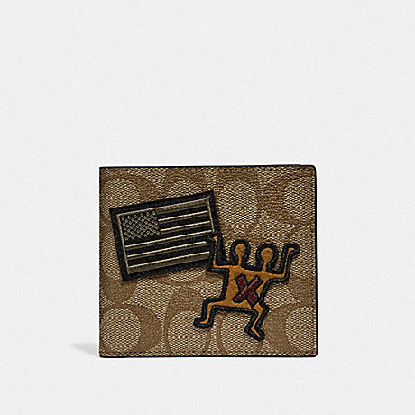 Coach F66591 Keith Haring Double Billfold Wallet In Signature Canvas With Patches Multi