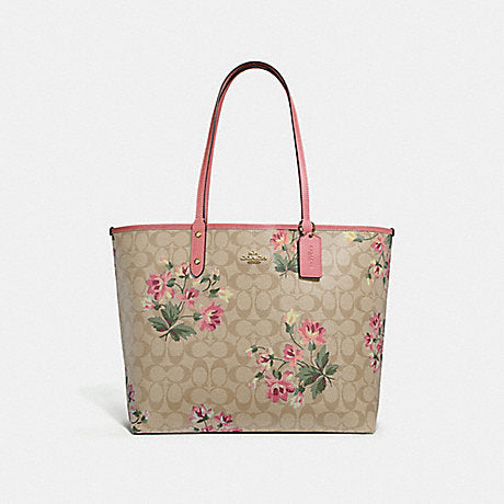 Coach F72844 Reversible City Tote In Signature Canvas With Lily Print Light Khaki Rose Petal