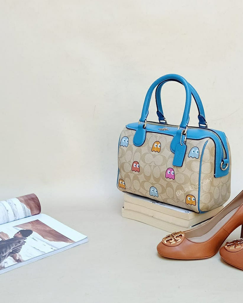 Coach F73067 Mini Bennett Satchel In Signature Canvas With Pac-man Ghosts Print Light Khaki Multi/gold