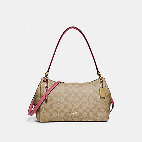 Coach F73177 Mia Small Shoulder Signature Canvas Light Khaki/rouge