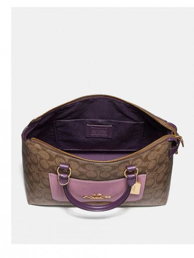 Coach F73220  Mini Emma Satchel Signature Canvas Khaki Tulip Multi