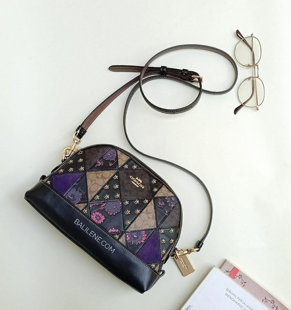 Coach  F76672  Signature Mx Patchwork Dome Black Multi