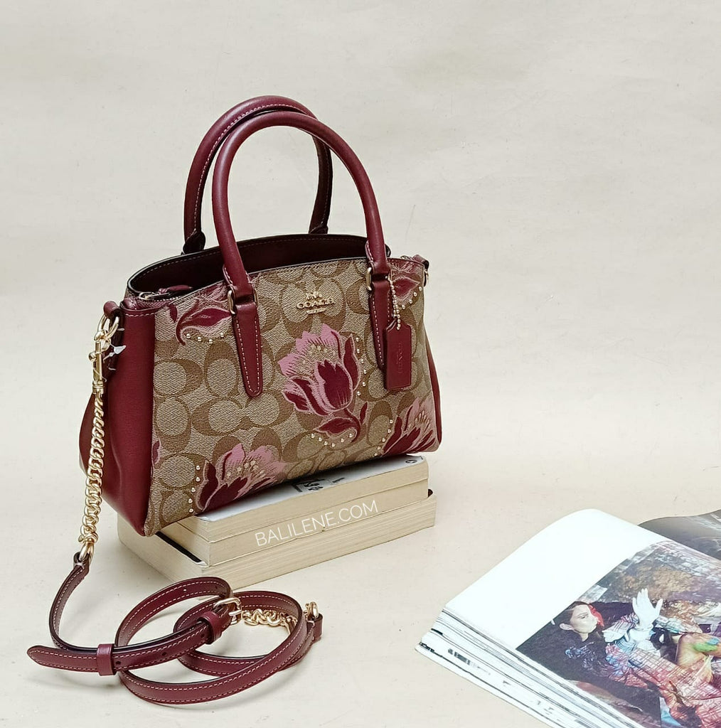 Coach F77850 Mini Sage Signature Khaki Pink Multi