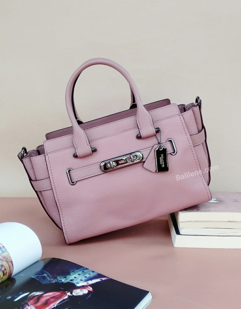 Coach F87295 Swagger 27 Pebble Leather Carryall Dusty Rose