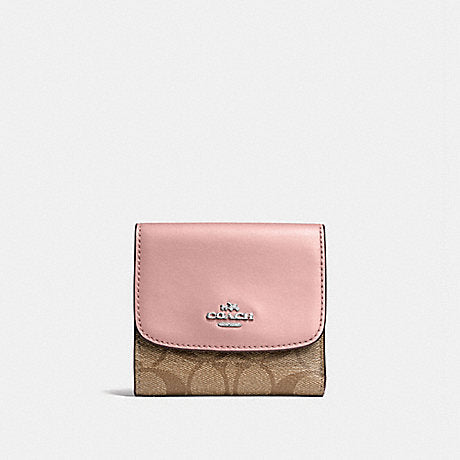 finest selection 530e2 e408b Coach F87589 Small Trifold Wallet Snap Pvc Leather Khaki Petal Pink