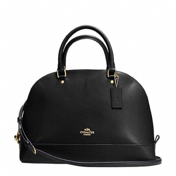 Coach F27590 Sierra Crossgrain Leather Black Ladies Satchel Bag