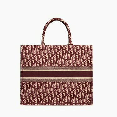Dior Book Tote Bag In Embroidered Canvas Oblique Bordeaux