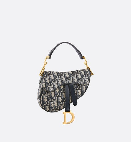 Dior Mini Saddle Bag Oblique Navy