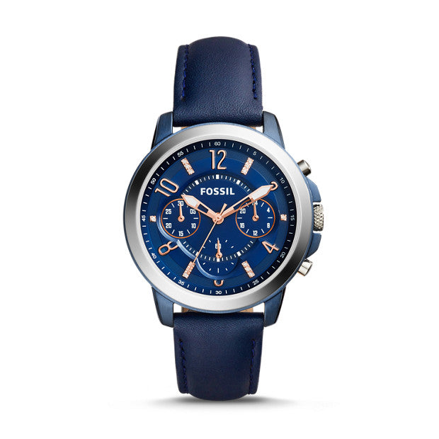 Fossil Es4131 Gwynn Chronograph Blue Leather Watch