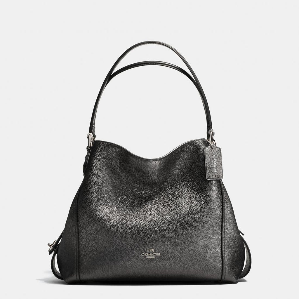 Coach F87399 Edie Shoulder Bag Metallic Graphite