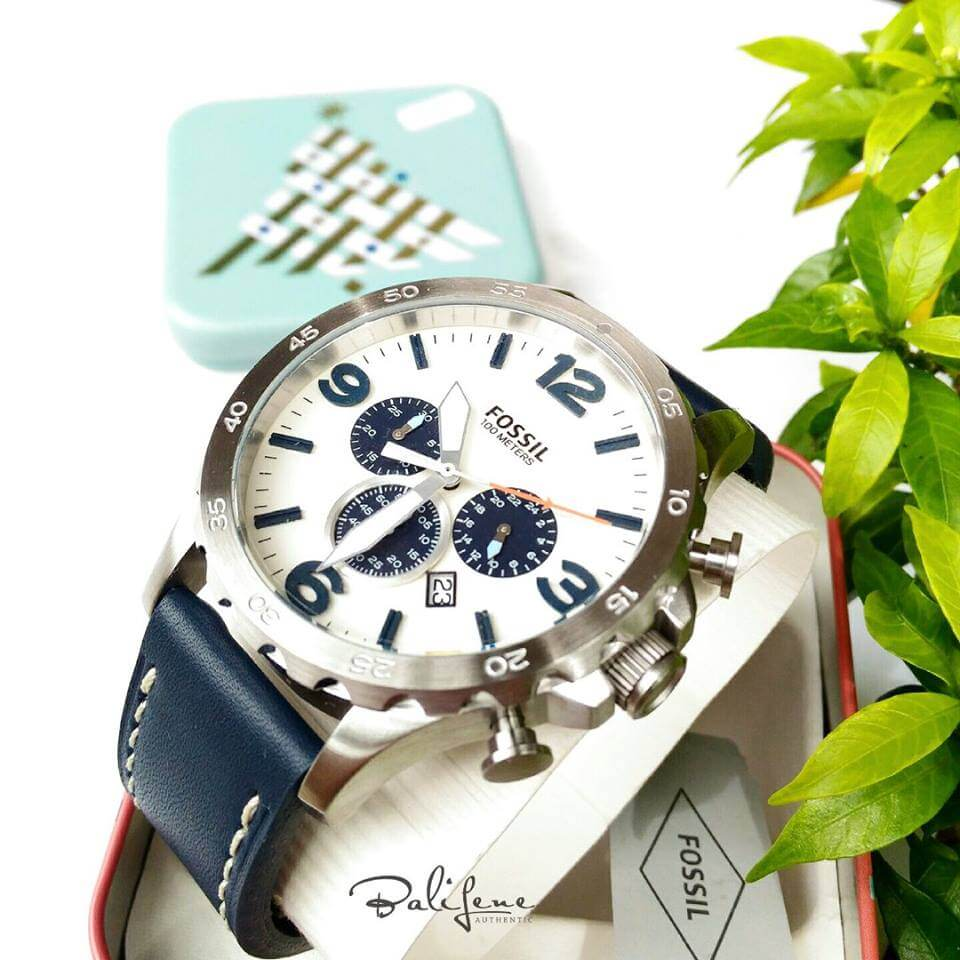 Jam Tangan Fossil Nate Chronograph Navy Leather Watch JR1480