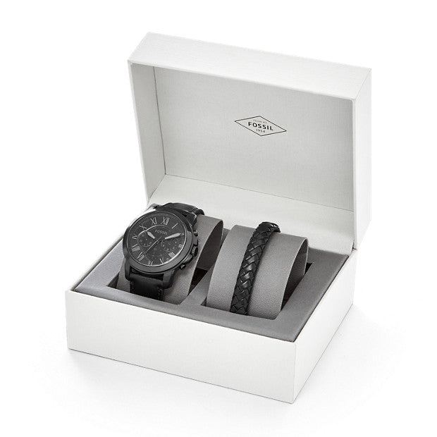 Fossil FS5147SET Grant Chronograph Black Leather Watch And Bracelet Set