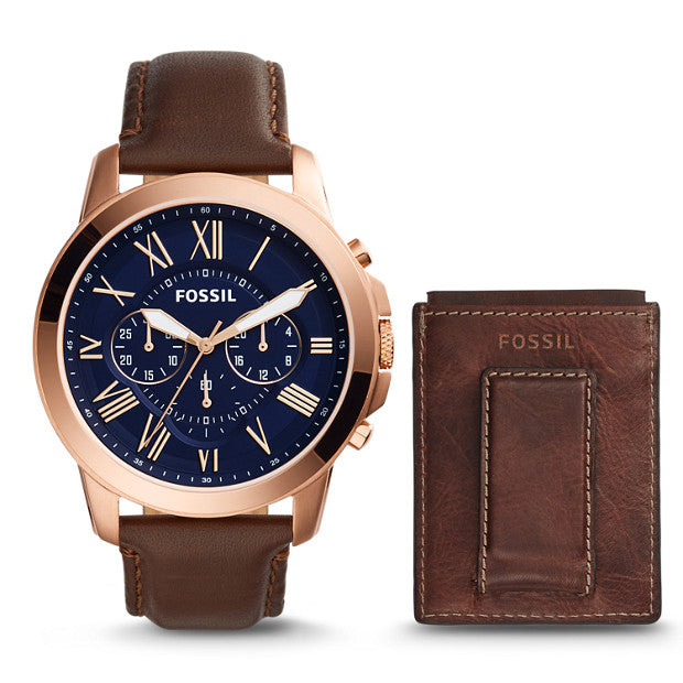 Fossil FS5188SET Men's Grant Chronograph Dark Brown Leather Strap Watch Set