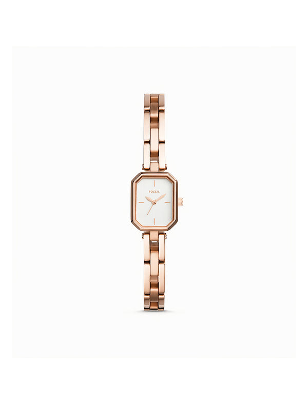 Fossil Bq3580 Audelia Three-Hand Rose Gold-Tone Stainless Steel Watch