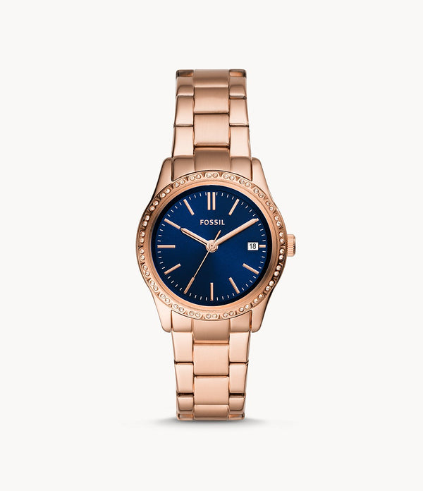 Fossil  BQ3563 Adalyn Three Hand Rose Gold Tone Stainless Steel Watch