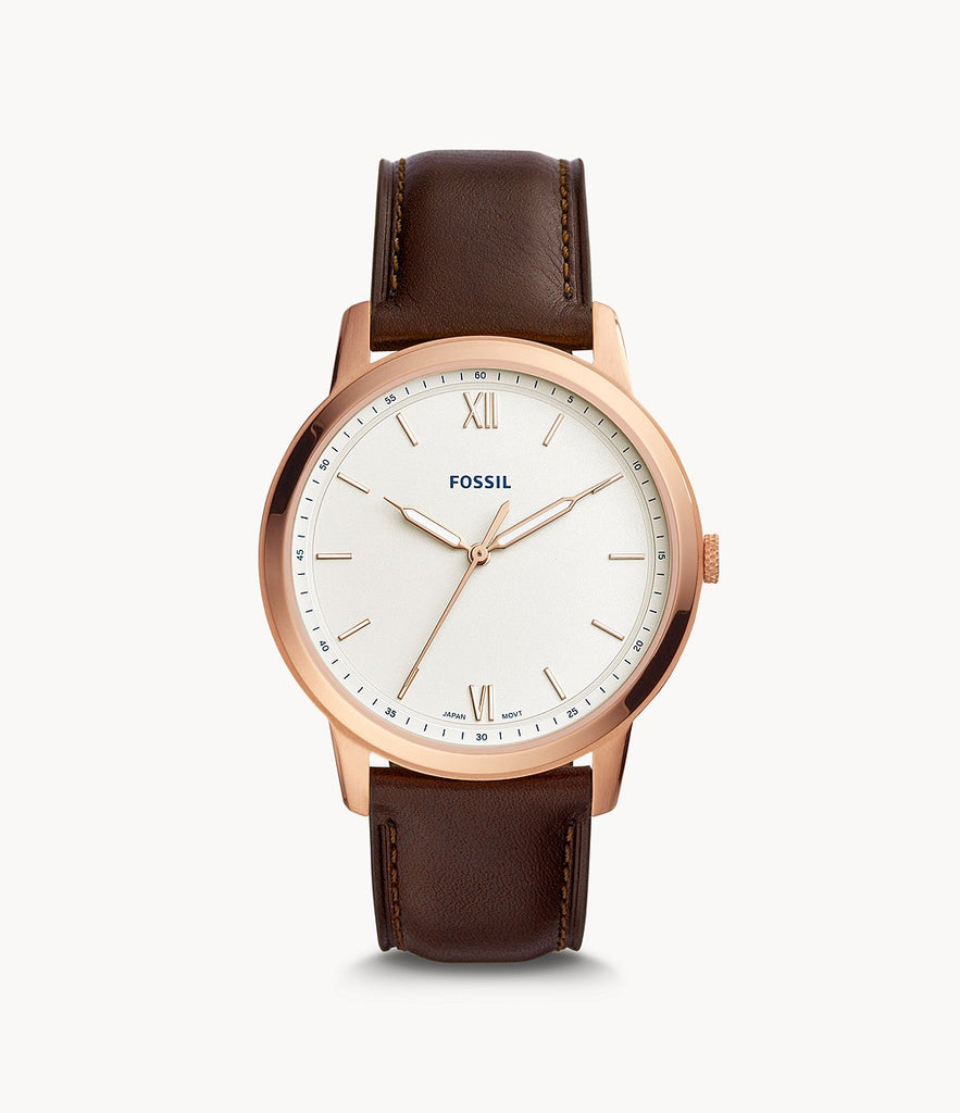 Fossil FS5463 The Minimalist Men White Dial Brown Leather Strap