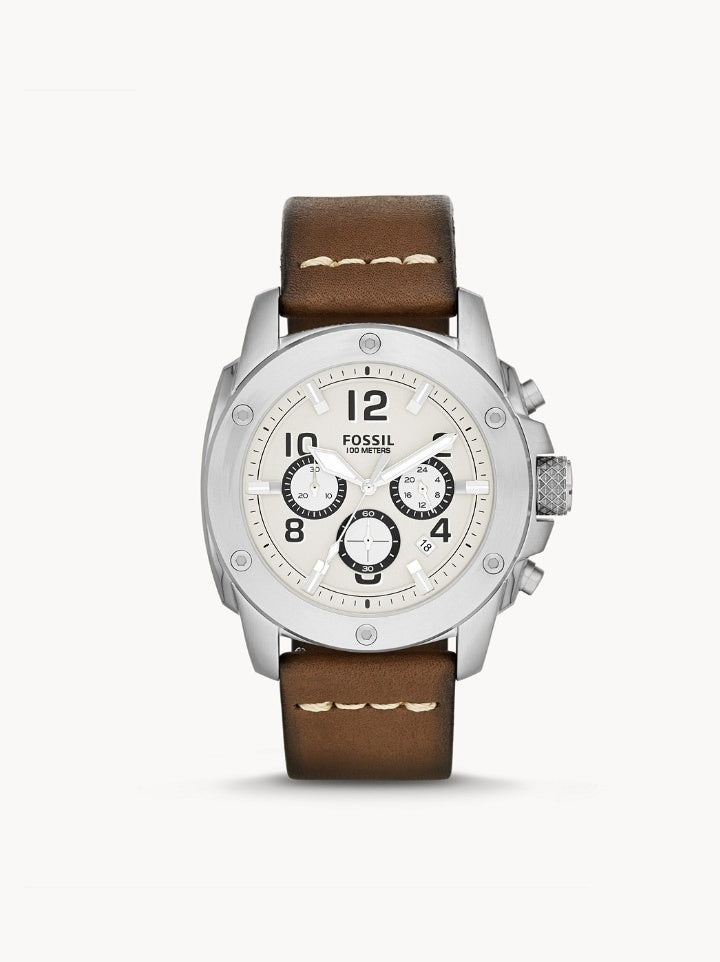 Fossil Fs4929 Chronograph Stainless Watch Brown Leather Strap