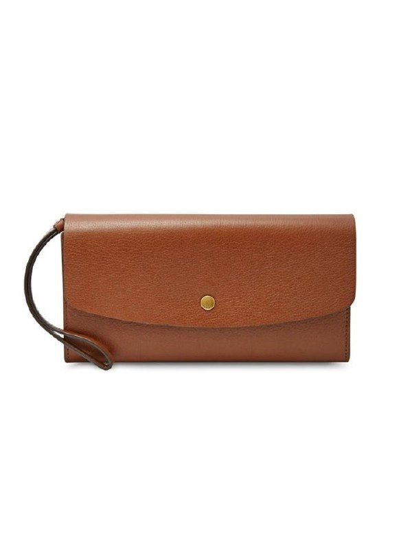 Fossil Sl6851200 Haven Large Triple Gusset Flap Clutch Brown