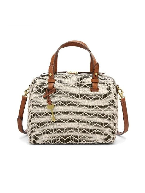 Fossil ZB7257558 Rachel Fabric Satchel Neutral Stripe