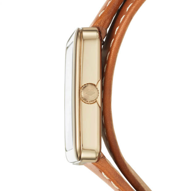 Fossil Es4159 Atwater Three-hand Luggage Brown Leather Wrap Watch