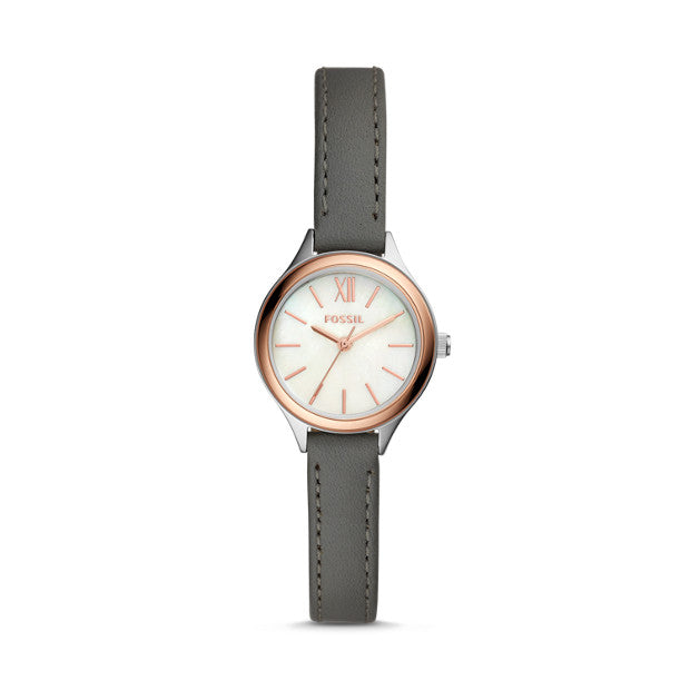 Fossil BQ3135 Suitor Mini Three-Hand Grey Leather Watch