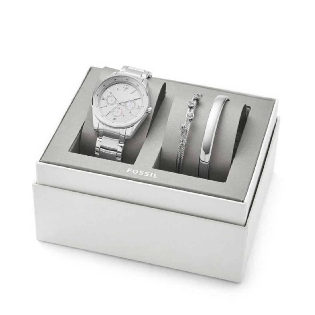 Fossil BQ3200SET Justine Chronograph Stainless Steel Watch And Jewelry Gift Set